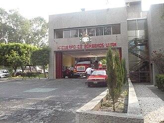 Ciudad Universitaria - Entrance of a fire station over Ciudad Universitaria