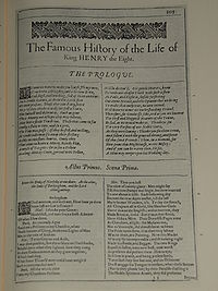 Faksimil av första sidan i The Famous History of the Life of King Henry the Eight från First Folio, publicerad 1623