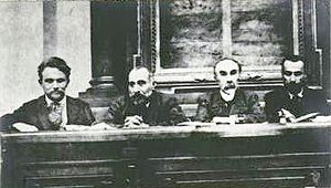 Matvey Skobelev - Skroblev (far left) during the First Convention of All-Russia Soviet Workers and Soldier Deputies
