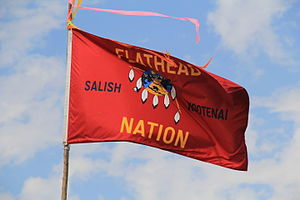 Flathead Indian Reservation - Image: Flathead Nation Flag at 2015 Arlee Celebration Pow Wow 1