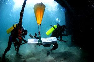 Lifting bag - Israeli Navy Underwater Missions Unit transfers equipment using lifting-bags