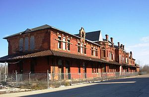 East Saginaw, Michigan - The site of the abandoned Flint & Pere Marquette Union Station, as it appeared in November 2008.