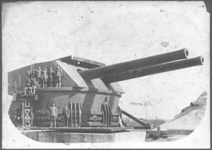 14-inch gun M1907 - A twin 14-inch turret made for Fort Drum being tested at the Sandy Hook Proving Ground.