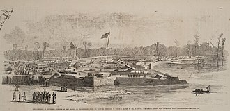Battle of Fort Henry - Fort Henry, on the morning after its capture, February 6, from a sketch by Henry Lovie
