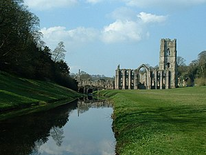 Economics of English agriculture in the Middle Ages - Fountains Abbey, one of the new Cistercian monasteries built in the medieval period with wealth derived from agriculture and trade.
