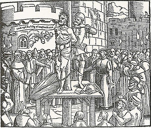 "William Tyndale - Tyndale, before being strangled and burned at the stake in Vilvoorde,  cries out, ""Lord, open the King of England's eyes"". Woodcut from Foxe's Book of Martyrs (1563)."