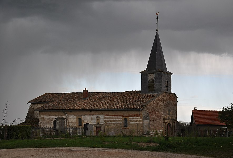Church of Braux-Saint-Remy in the rain (canton Sainte-Menehould, Marne department, Champagne-Ardenne region, France).