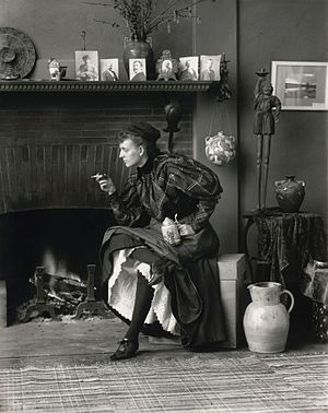 Frances Benjamin Johnston - Self Portrait (as New Woman), an 1896 self-portrait taken in her Washington, DC studio