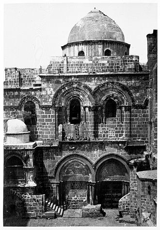 Francis Frith - Entrance, Church of the Holy Sepulchre, Jerusalem. Gelatin silver photograph. Brooklyn Museum