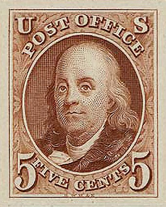 First issue of Benjamin Franklin on US postage stamp, issue of 1847 Franklin SC1 1847.jpg