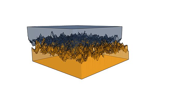 Simulated blocks with fractal rough surfaces, exhibiting static frictional interactions Friction between surfaces.jpg