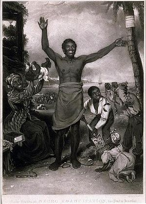 "Emancipation of the British West Indies - ""To the Friends of Negro Emancipation"", an engraving in the West Indies, celebrating the abolition of slavery in the British Empire in 1833."