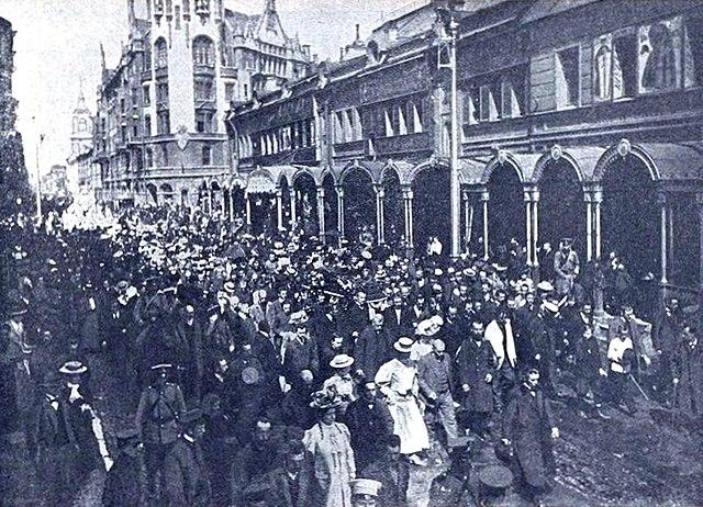 Похороны Римского-Корсакова. Похоронная процессия на Вознесенском проспекте