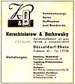 Fur trimmings wholesale dealer Karschinierow & Barkowsky, Düsseldorf, advertisement 1950-09.jpg