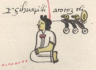"Atotoztli II - Fragmento de genealogía de los príncipes mexicanos showing ""Lady Atotoztli"" (subtitled Çihuapilli Atotoztli in Latin alphabet)"