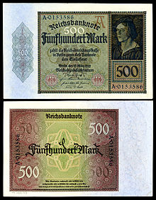 Jakob Meyer zum Pfeil depicted on a 1922 500 Mark Weimar Republic banknote