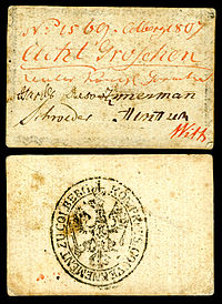 Emergency issue currency for the Siege of Kolberg (1807), 8 groschen