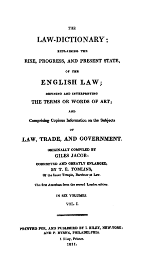 Giles Jacob - Title page from an 1811 edition of Jacob's The New Law Dictionary.