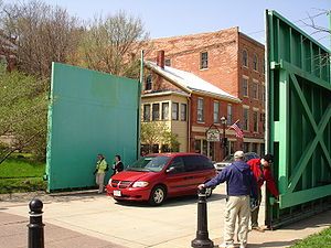 Floodgates, downtown Galena, Illinois, USA.