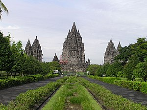 Prambanan temple complex from the front gate.