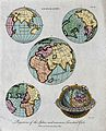Geography; the hemispheres of a globe. Engraving by J. Pass, Wellcome V0025074EL.jpg
