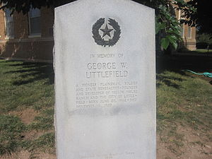 George W. Littlefield - Littlefield monument in his namesake city; click to read.