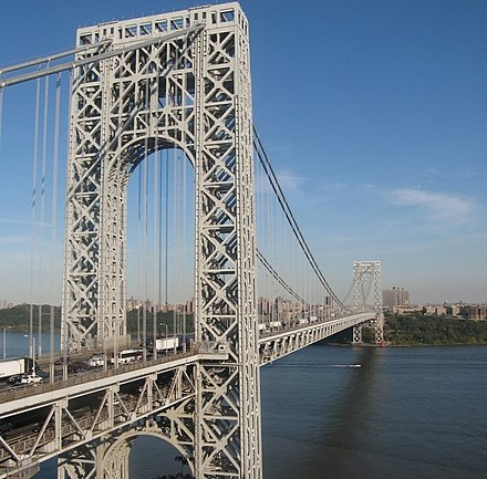 The George Washington Bridge, connecting Fort Lee (foreground) in Bergen County across the Hudson River to New York City, is the world's busiest motor vehicle bridge. George Washington Bridge from New Jersey-edit.jpg
