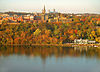 Georgetown University's main campus is built on a rise above the Potomac River