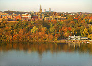 Georgetown University's main campus is built on a rise above the Potomac River.