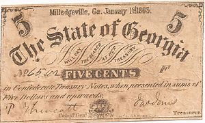 Confederate state currencies - A five cent note issued by the Confederate State of Georgia in 1863