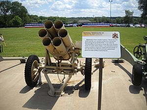 15 cm Nebelwerfer 41 - Nebelwerfer 41 rocket launcher on display at the Rock Island Arsenal museum, viewed from the front