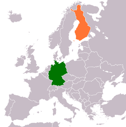 Map indicating locations of Germany and Finland