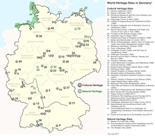 List Of World Heritage Sites In Germany Wikipedia - Map 9f germany