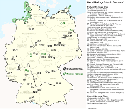 List Of World Heritage Sites In Germany Wikiwand - Germany map 2017