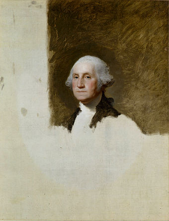 Gilbert Stuart's unfinished 1796 painting of George Washington is also known as The Athenaeum, his most celebrated and famous work Gilbert Stuart 1796 portrait of Washington.jpg