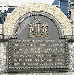 Plaque in St. John's commemorating the English claim over Newfoundland, and the beginning of the British overseas empire Gilbert plaque.jpg
