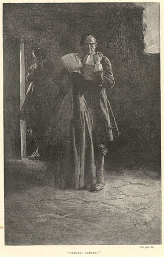"""Giles Corey - """"Father Father"""", illustration accompanying Giles Cory, Yeoman, a play by Mary E. Wilkins Freeman, Harper's New Monthly Magazine, Volume LXXXVI, 1893."""