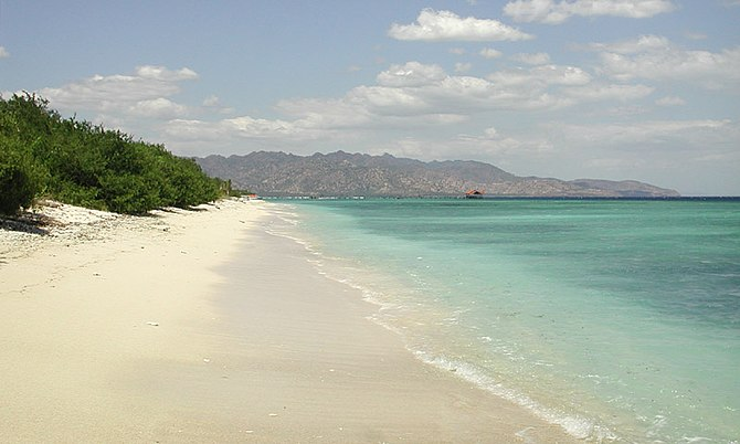View of the west coast of Gili Meno looking so...