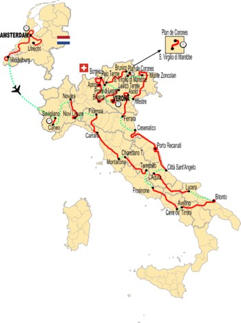 Map of Italy showing the path of the race, starting in Amsterdam and transferring to Savigliano in Italy before going counter-clockwise and reaching Apulia in the south before coming back north to finish in Verona, by the Dolomites in northeast Italy