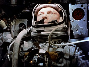 Mercury-Atlas 6 - Still frame of John Glenn in orbit, taken by a motion picture camera inside Friendship 7