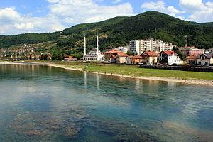 Goražde - The Drina river at Goražde.