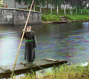 Volga–Baltic Waterway - Pinchas Kaplinskii Supervisor of a floodgate at Chernigov in Ukraine 1910. Photo by Sergey Prokudin-Gorsky.