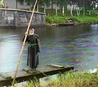 Volga–Baltic Waterway - Pinchas Kaplinskii Supervisor of a floodgate at Chernigov in Ukraine 1910. Photo by Sergey Prokudin-Gorsky.