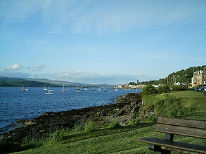 Gourock - The west front looking past the Royal Gourock Yacht Club to the pierhead.