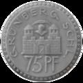 Grünberg in Schlesien, Zielona Góra, 1922, 75 Pf, Burg, Keramik b.png