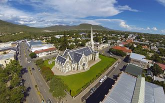 Graaff-Reinet - An aerial view of Graaff-Reinet's Dutch Reformed Church.