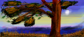 "Digital illustration - A digital illustration depicting a tree in autumn, drawn using Facebook's ""graffiti"" app"