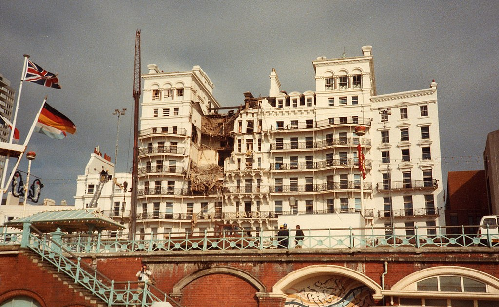 The Grand Hotel in Brighton following the IRA bomb attack. The photo was taken on the morning of October 12 1984, some hours after the blast.