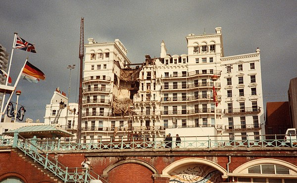 Aftermath of the Grand Hotel bombing in Brighton (1984) which was targeted at British Prime Minister Margaret Thatcher, the result of a time bomb which had been placed in the hotel nearly a month before it detonated. Thatcher escaped harm, though 5 others perished and 31 were injured. Grand-Hotel-Following-Bomb-Attack-1984-10-12.jpg