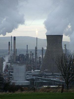 A petrochemical refinery in Grangemouth, Scotl...